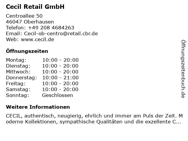 Cecil Retail GmbH in Oberhausen: Adresse und Öffnungszeiten