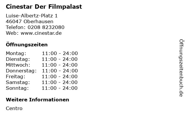 Cinestar Der Filmpalast in Oberhausen: Adresse und Öffnungszeiten