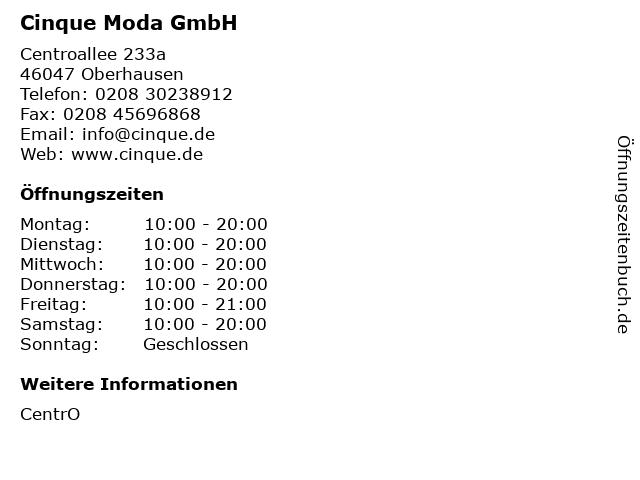 Cinque Moda GmbH in Oberhausen: Adresse und Öffnungszeiten