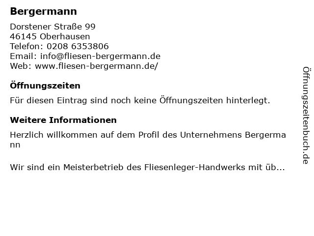 Claus Bergermann Fliesenlegermeister in Oberhausen: Adresse und Öffnungszeiten