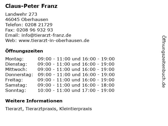 Claus-Peter Franz in Oberhausen: Adresse und Öffnungszeiten