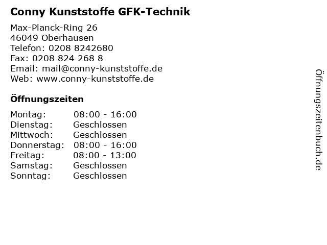 Conny Kunststoffe GFK-Technik in Oberhausen: Adresse und Öffnungszeiten