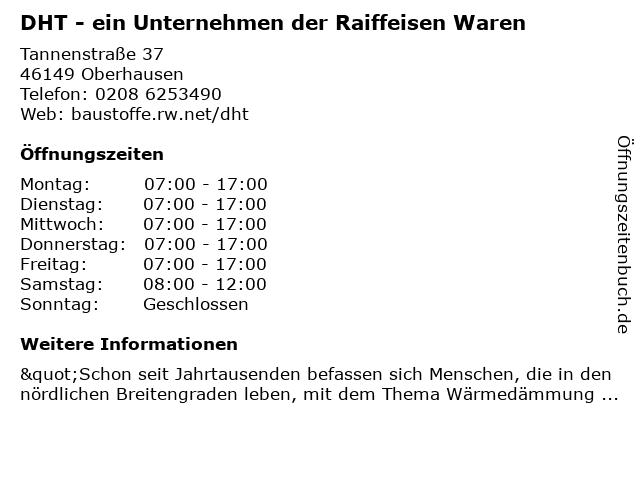 DHT Dämmstoff Handel+Technik GmbH SBW Oberhausen in Oberhausen: Adresse und Öffnungszeiten