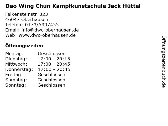 Dao Wing Chun Kampfkunstschule Jack Hüttel in Oberhausen: Adresse und Öffnungszeiten