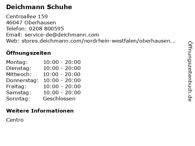 Deichmann Schuhe in Oberhausen: Adresse und Öffnungszeiten