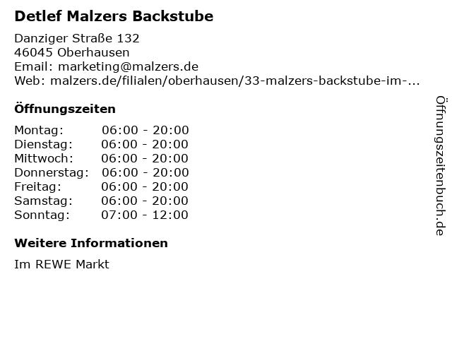 Detlef Malzers Backstube GmbH & Co. KG in Oberhausen: Adresse und Öffnungszeiten