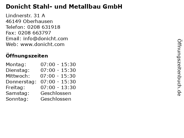 Donicht Stahl- und Metallbau GmbH in Oberhausen: Adresse und Öffnungszeiten