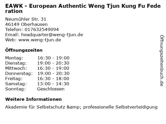 EAWK - European Authentic Weng Tjun Kung Fu Federation in Oberhausen: Adresse und Öffnungszeiten
