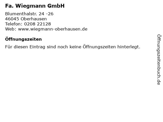 Fa. Wiegmann GmbH in Oberhausen: Adresse und Öffnungszeiten