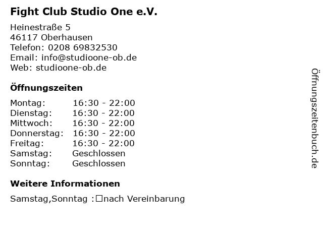 Fight Club Studio One e.V. in Oberhausen: Adresse und Öffnungszeiten