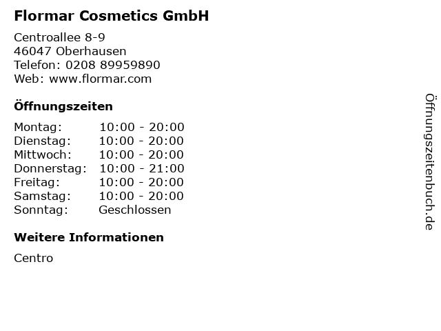 Flormar Cosmetics GmbH in Oberhausen: Adresse und Öffnungszeiten