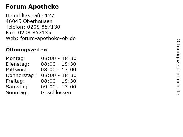 Forum Apotheke in Oberhausen: Adresse und Öffnungszeiten