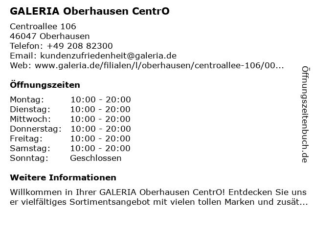 Galeria Kaufhof Oberhausen CentrO in Oberhausen: Adresse und Öffnungszeiten