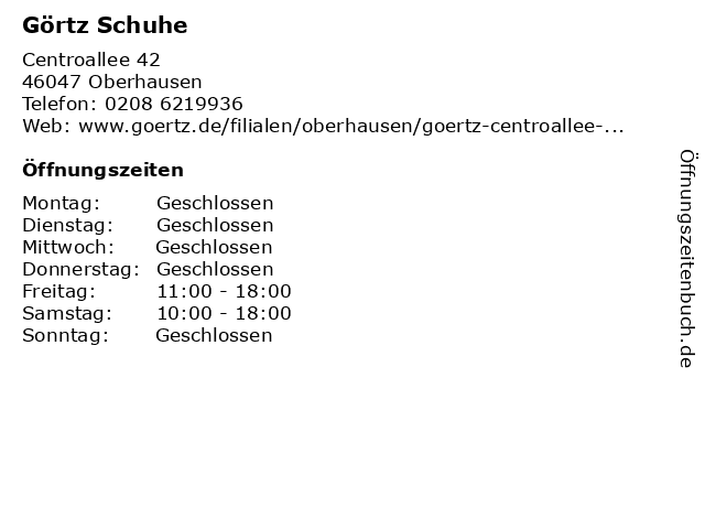 Görtz GmbH (Erdgeschoss) in Oberhausen: Adresse und Öffnungszeiten