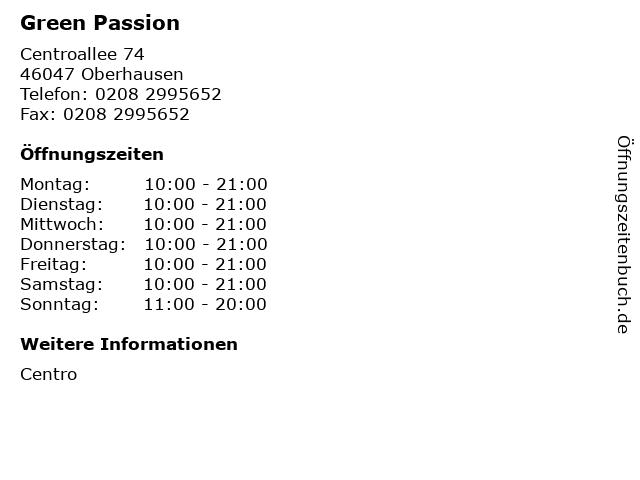 Green Passion in Oberhausen: Adresse und Öffnungszeiten