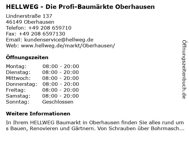 HELLWEG - Die Profi-Baumärkte Oberhausen in Oberhausen: Adresse und Öffnungszeiten