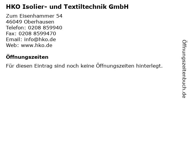 HKO Isolier- und Textiltechnik GmbH in Oberhausen: Adresse und Öffnungszeiten
