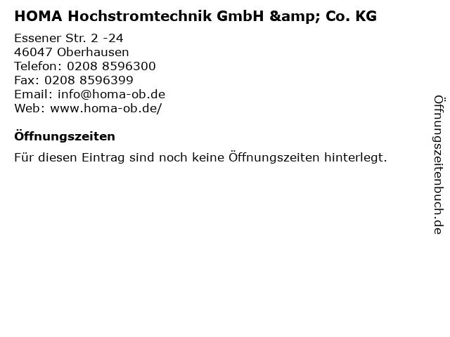 HOMA Hochstromtechnik GmbH & Co. KG in Oberhausen: Adresse und Öffnungszeiten