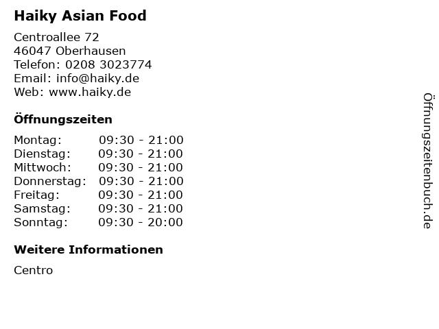 Haiky Asian Food in Oberhausen: Adresse und Öffnungszeiten