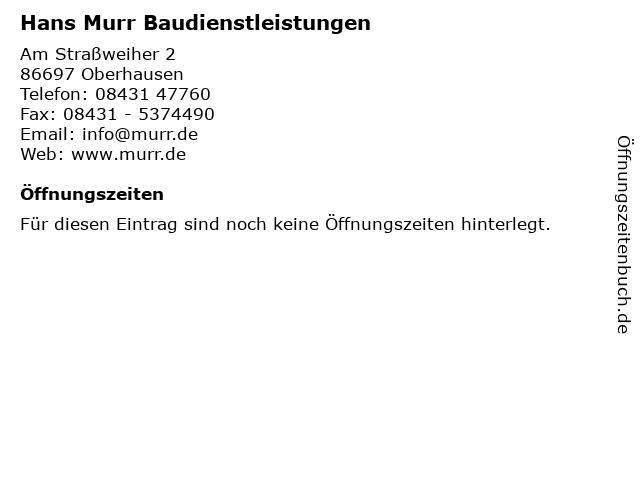 Hans Murr Baudienstleistungen in Oberhausen: Adresse und Öffnungszeiten