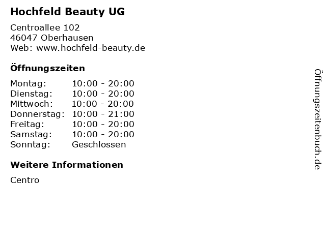 Hochfeld Beauty UG in Oberhausen: Adresse und Öffnungszeiten
