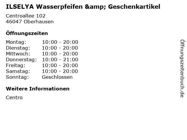 ILSELYA Wasserpfeifen & Geschenkartikel in Oberhausen: Adresse und Öffnungszeiten