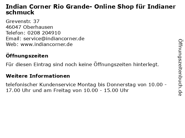 Indian Corner Rio Grande- Online Shop für Indianerschmuck in Oberhausen: Adresse und Öffnungszeiten