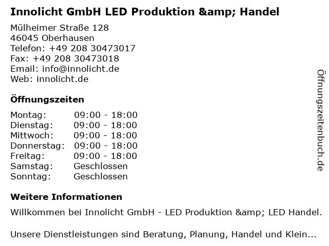 Innolicht GmbH LED Produktion & Handel in Oberhausen: Adresse und Öffnungszeiten