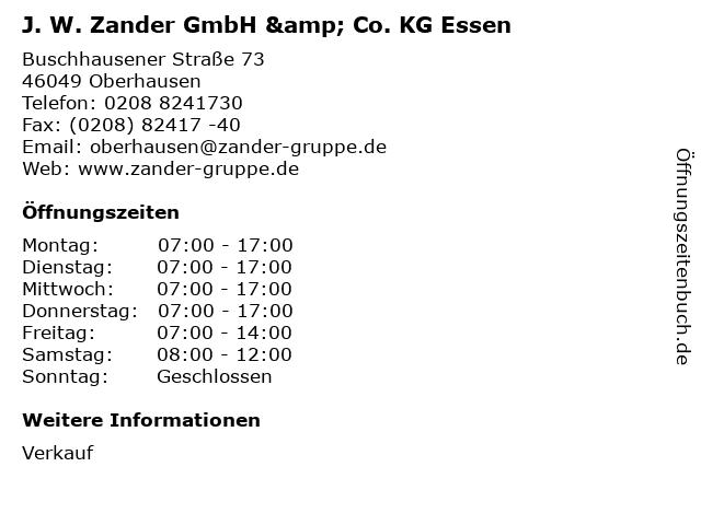 J. W. Zander GmbH & Co. KG Essen in Oberhausen: Adresse und Öffnungszeiten