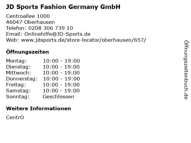 JD Sports Fashion Germany GmbH in Oberhausen: Adresse und Öffnungszeiten