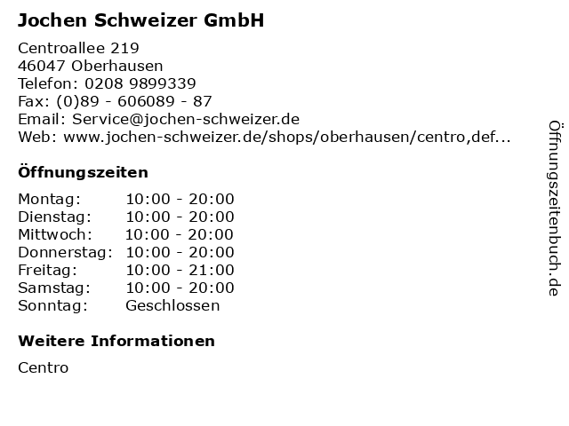 Jochen Schweizer GmbH in Oberhausen: Adresse und Öffnungszeiten