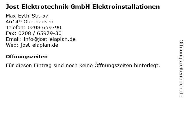 Jost Elektrotechnik GmbH Elektroinstallationen in Oberhausen: Adresse und Öffnungszeiten