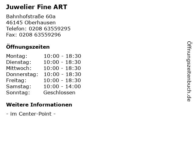 Juwelier Fine ART in Oberhausen: Adresse und Öffnungszeiten