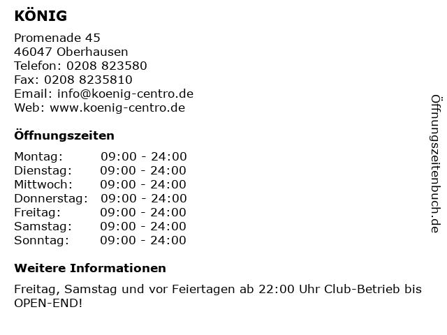 KÖNIG in Oberhausen: Adresse und Öffnungszeiten