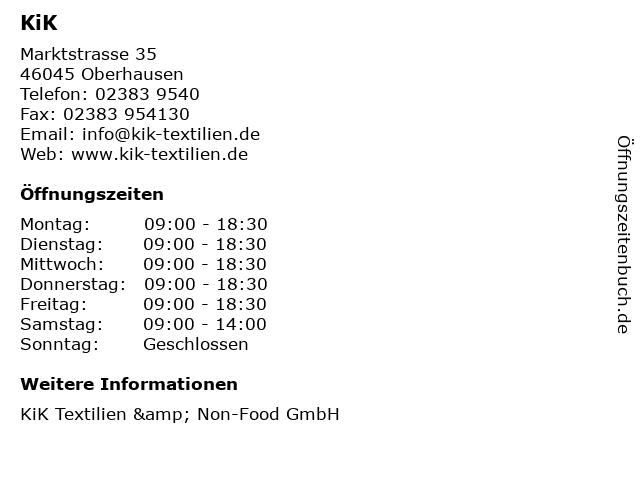 KiK in Oberhausen: Adresse und Öffnungszeiten