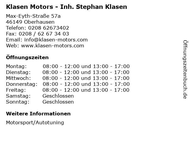Klasen Motors - Inh. Stephan Klasen in Oberhausen: Adresse und Öffnungszeiten