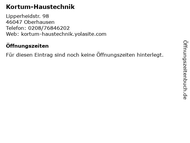 Kortum-Haustechnik in Oberhausen: Adresse und Öffnungszeiten
