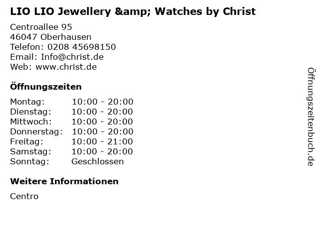 LIO LIO Jewellery & Watches by Christ in Oberhausen: Adresse und Öffnungszeiten