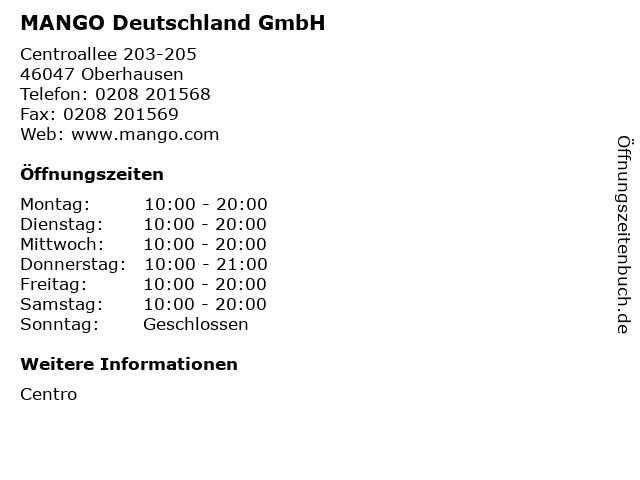 MANGO Deutschland GmbH in Oberhausen: Adresse und Öffnungszeiten