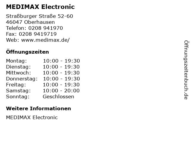 MEDIMAX Electronic in Oberhausen: Adresse und Öffnungszeiten
