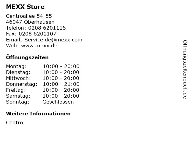 MEXX Store in Oberhausen: Adresse und Öffnungszeiten