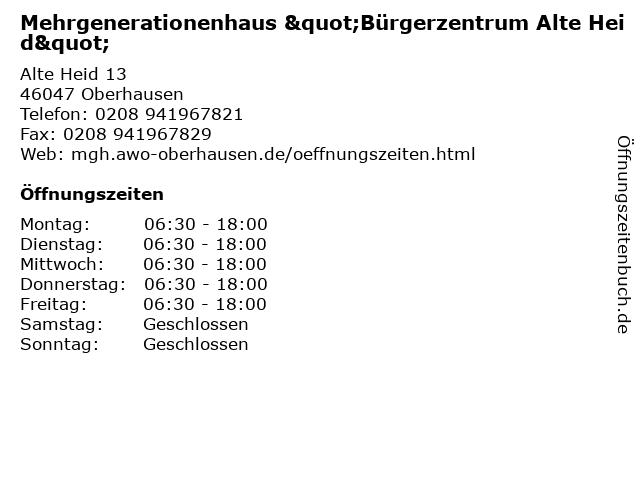 """Mehrgenerationenhaus """"Bürgerzentrum Alte Heid"""" in Oberhausen: Adresse und Öffnungszeiten"""