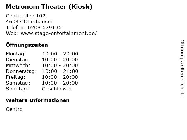 Metronom Theater (Kiosk) in Oberhausen: Adresse und Öffnungszeiten