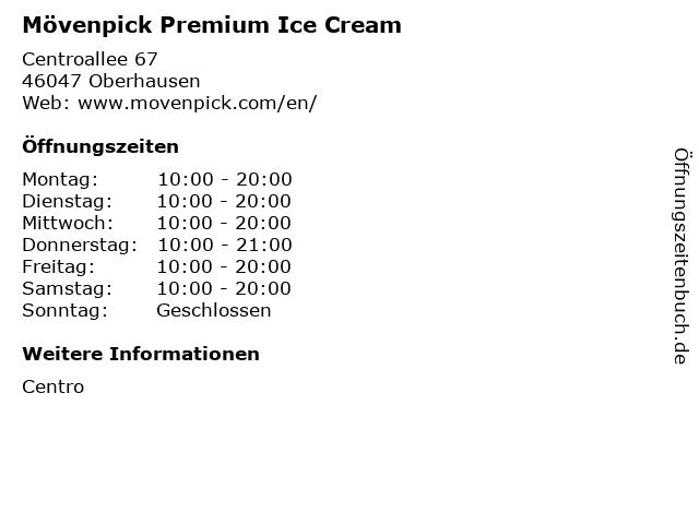 Mövenpick Premium Ice Cream in Oberhausen: Adresse und Öffnungszeiten