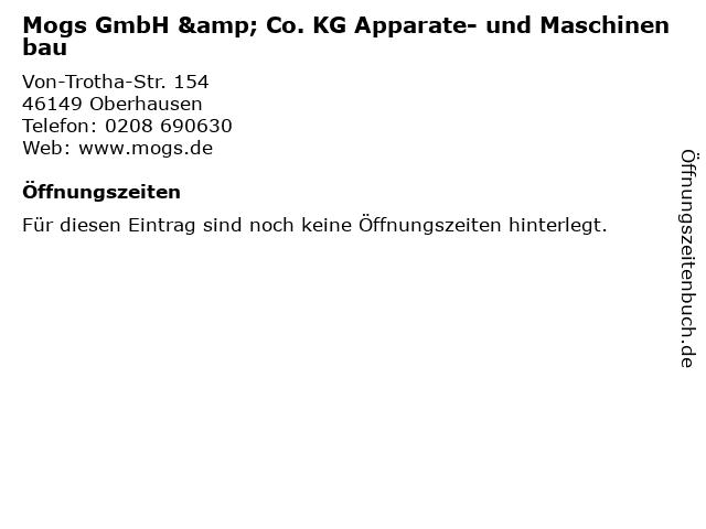 Mogs GmbH & Co. KG Apparate- und Maschinenbau in Oberhausen: Adresse und Öffnungszeiten