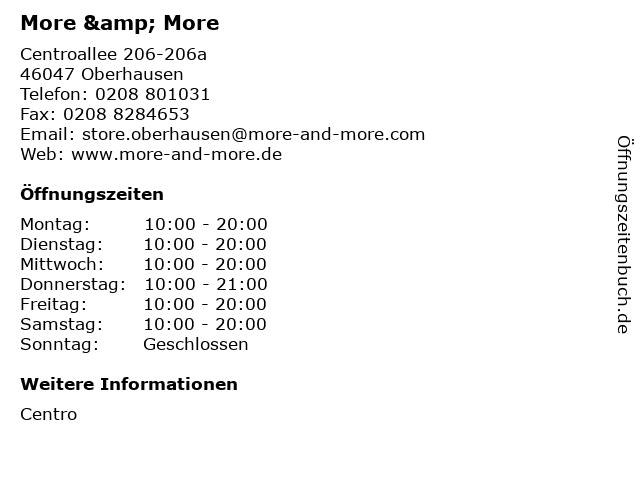 More & More in Oberhausen: Adresse und Öffnungszeiten