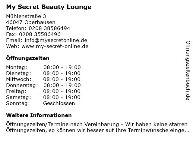 My Secret Beauty Lounge in Oberhausen: Adresse und Öffnungszeiten