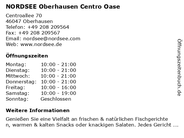 NORDSEE Oberhausen Centro Oase in Oberhausen: Adresse und Öffnungszeiten