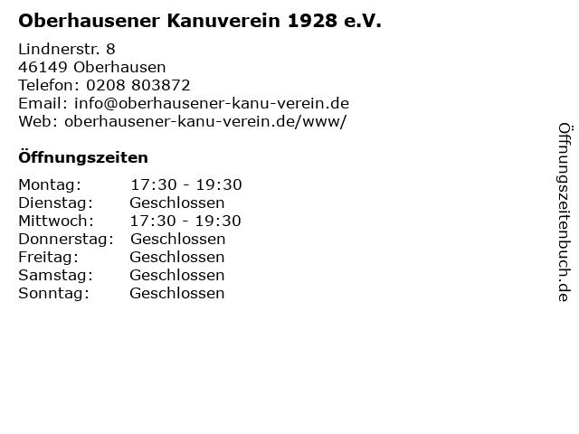 Oberhausener Kanuverein 1928 e.V. in Oberhausen: Adresse und Öffnungszeiten