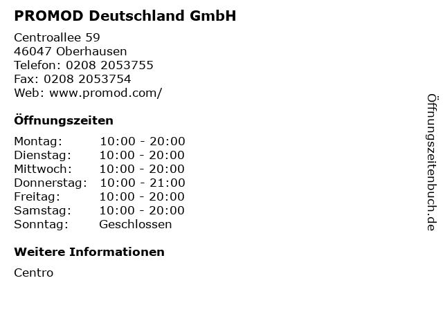 PROMOD Deutschland GmbH in Oberhausen: Adresse und Öffnungszeiten